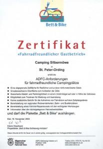 Zertifikat Fahrradfreundlicher Campingplatz Schleswig-Holstein