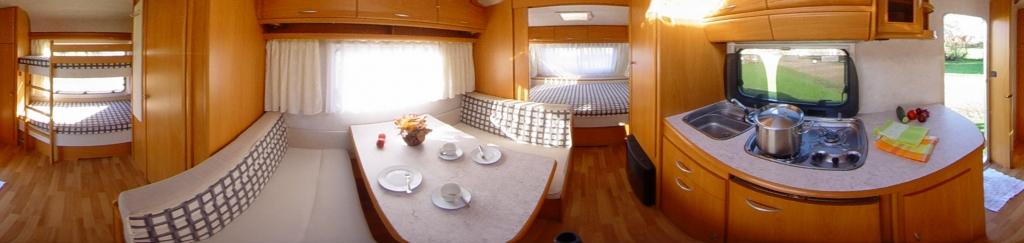 Campingplatz Silbermöwe, 360° Panoramafoto Mietwohnwagen
